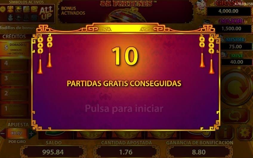 Función de bonus muy popular que ofrece spins gratis y Juegos especiales en 88 fortunes