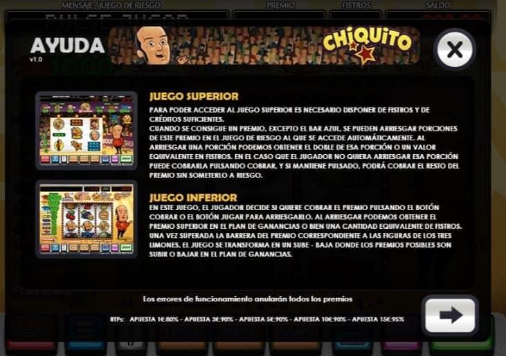 Tabla de pagos de Chiquito