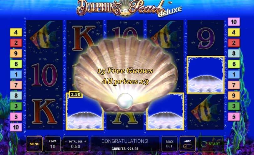 Función de bonus muy popular que ofrece spins gratis y Juegos especiales en Dolphins Pearl Deluxe