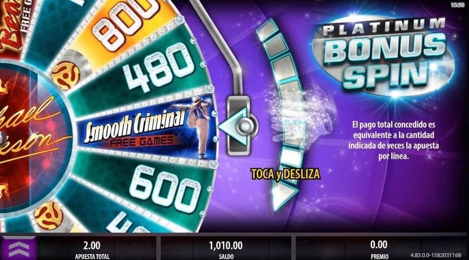 Función de bonus muy popular que ofrece spins gratis y Juegos especiales en Michael Jackson