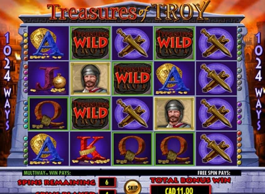 Función de bonus muy popular que ofrece spins gratis y Juegos especiales en Treasures of Troy