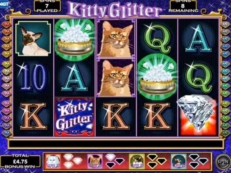 Función de bonus muy popular que ofrece spins gratis y Juegos especiales en Kitty Glitter
