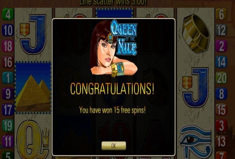 """""""Función de bonus muy popular que ofrece spins gratis y Juegos especiales en Queen of the Nile"""