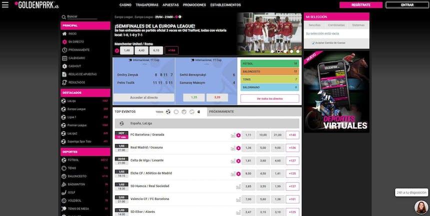 Disfruta en GoldenPark de las mejores apuestas deportivas online