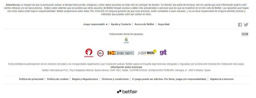 Métodos de pago del Betfair