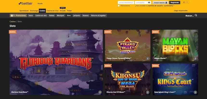 juegos de slot online en Betfair