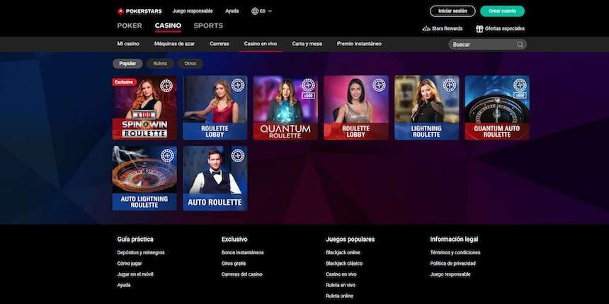 Disfruta del casino en vivo y juega a tu juego favorito en Pokerstars Casino