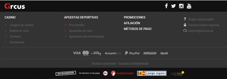 Métodos de pago del Circus.es