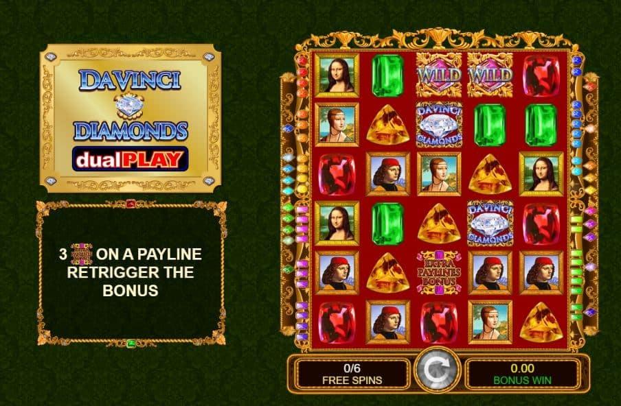 Función de bonus muy popular que ofrece spins gratis y Juegos especiales en Da Vinci Diamonds Dual Play