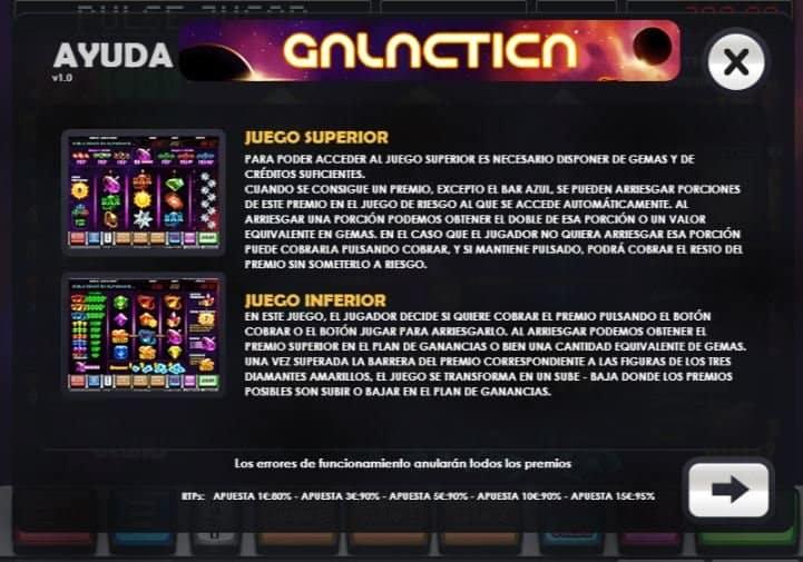 Tabla de pagos de Galactica