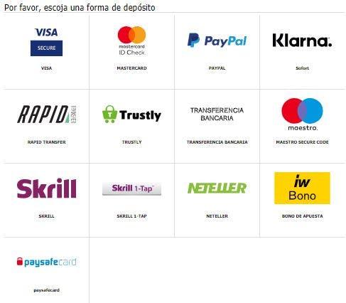 Métodos de pago del Interwetten