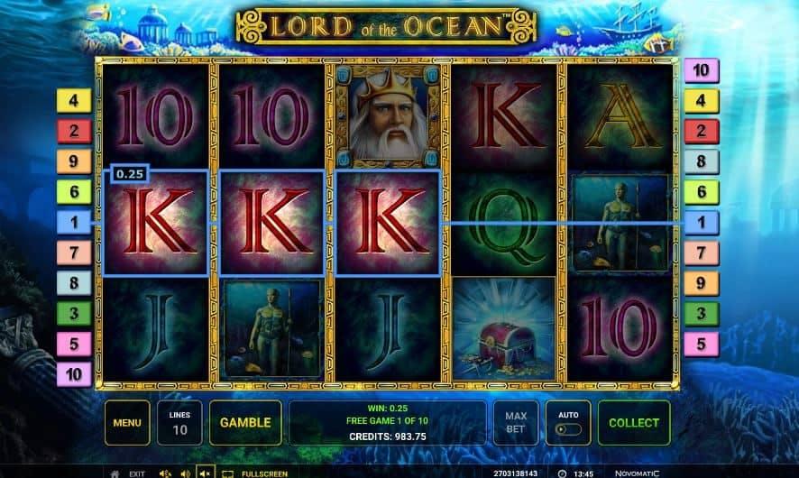 Función de bonus muy popular que ofrece spins gratis y Juegos especiales en Lord of the Ocean