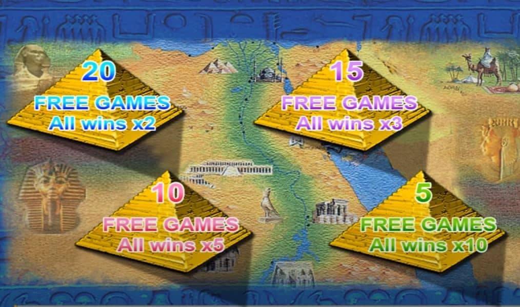 Función de bonus muy popular que ofrece spins gratis y Juegos especiales en Queen of the Nile 2