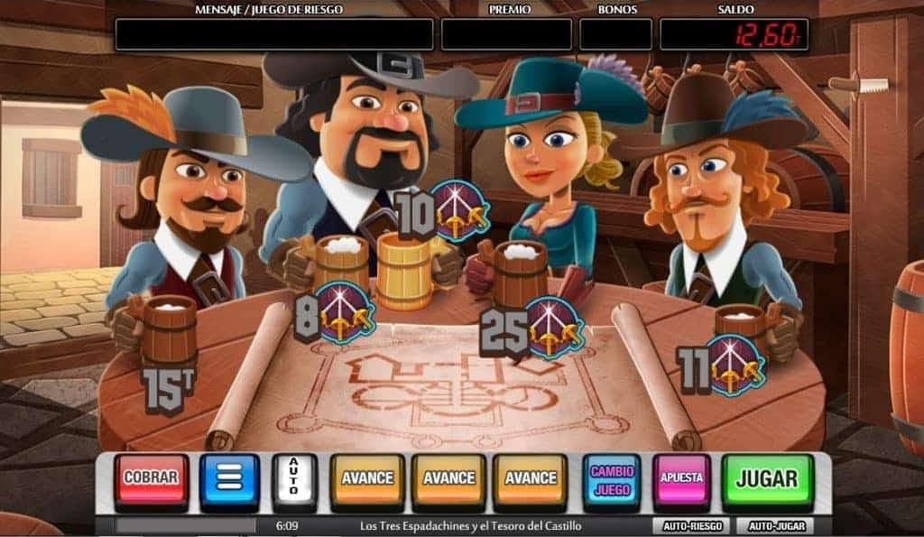 Función de bonus muy popular que ofrece spins gratis y Juegos especiales en los tres espadachines y el tesoro del castillo