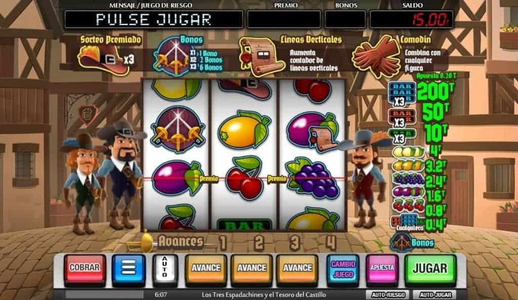Tabla de pagos de los tres espadachines y el tesoro del castillo