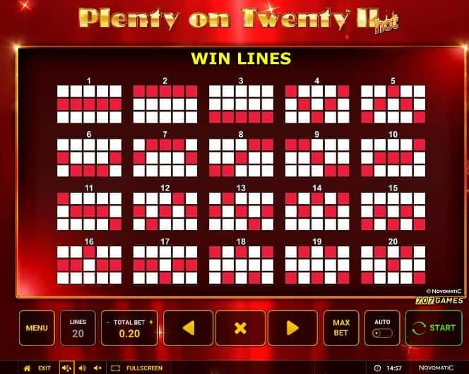 Formas diferentes de realizar combinaciones ganadoras en Plenty on Twenty 2