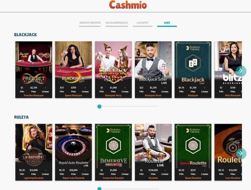 Disfruta del casino en vivo y juega a tu juego favorito en Cashmio