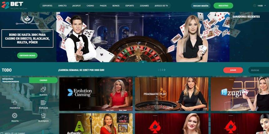 Disfruta del casino en vivo y juega a tu juego favorito en 22bet