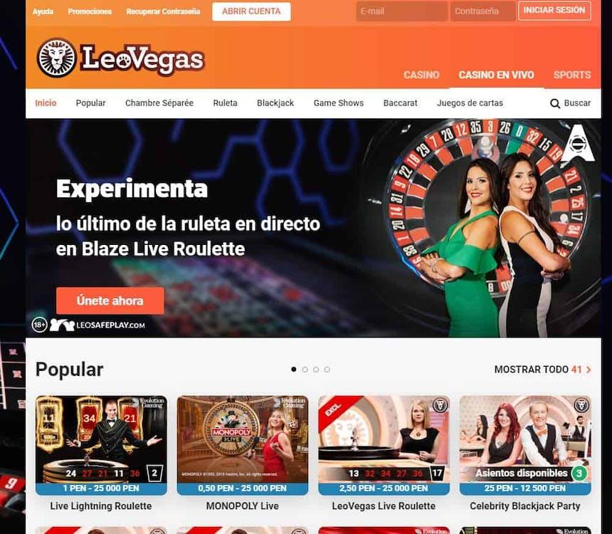 Disfruta del casino en vivo y juega a tu juego favorito en Leovegas