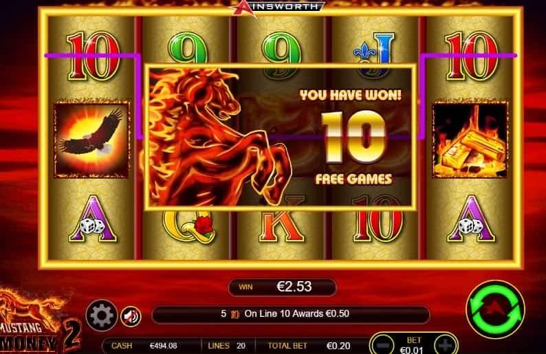 Función de bonus muy popular que ofrece spins gratis y Juegos especiales en Mustang Money 2