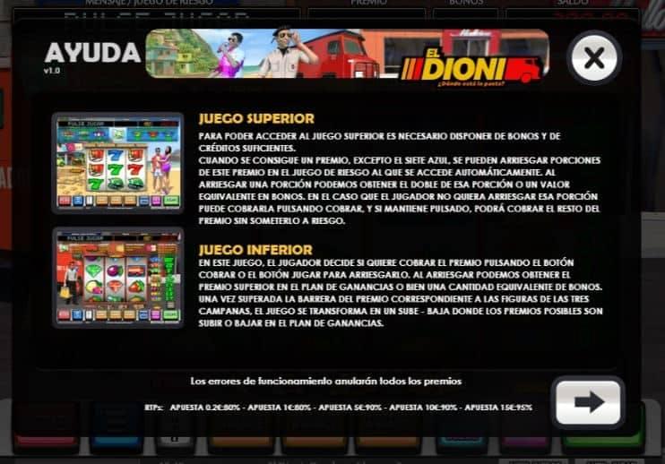 Tabla de pagos de El Dioni