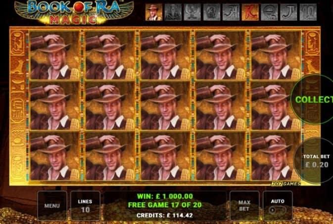 Función de bonus muy popular que ofrece spins gratis y Juegos especiales en Book of Ra Magic