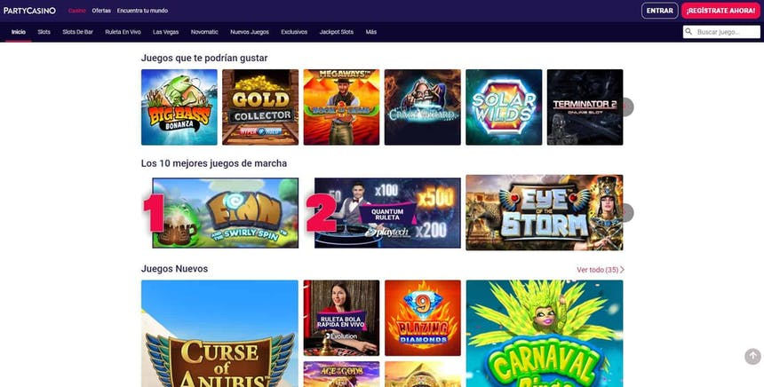 juegos de slot online en Partycasino