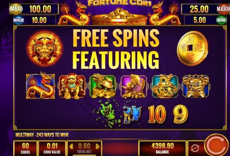 Función de bonus muy popular que ofrece spins gratis y Juegos especiales en Fortune Coin