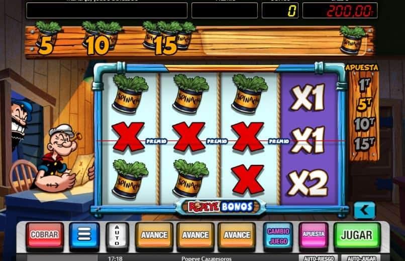 Función de bonus muy popular que ofrece spins gratis y Juegos especiales en Popeye Cazatesoros
