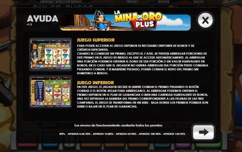 Tabla de pagos de La Mina De Oro Plus
