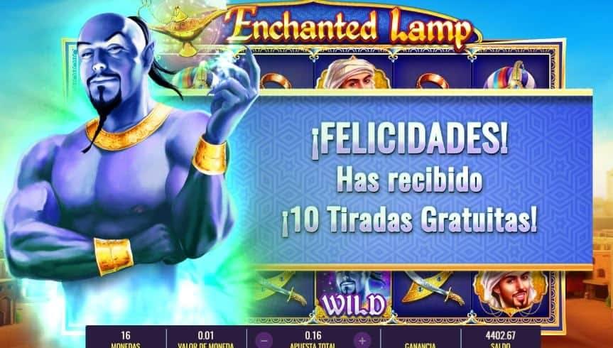 Función de bonus muy popular que ofrece spins gratis y Juegos especiales en Enchanted Lamp