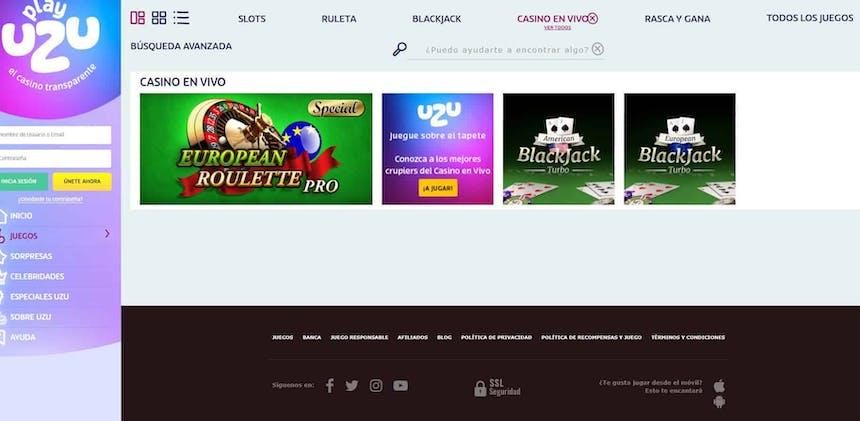 Disfruta del casino en vivo y juega a tu juego favorito en PlayUzu
