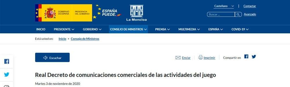 Nuevas leyes sobre publicidad del juego España