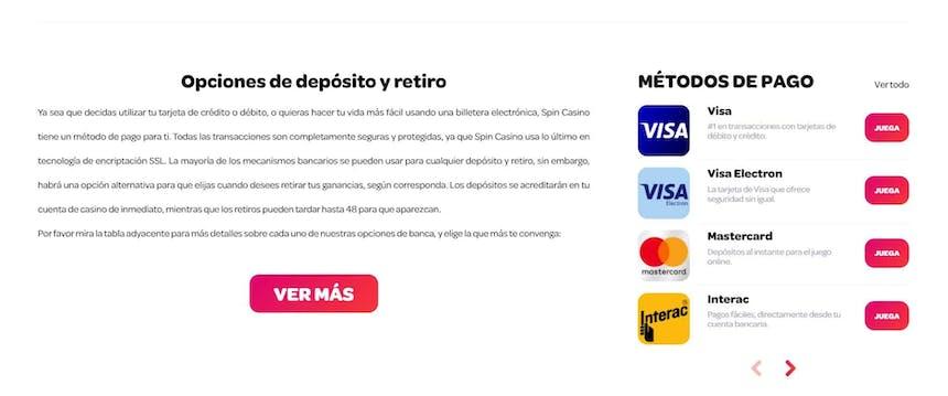 Métodos de pago del Spin Casino