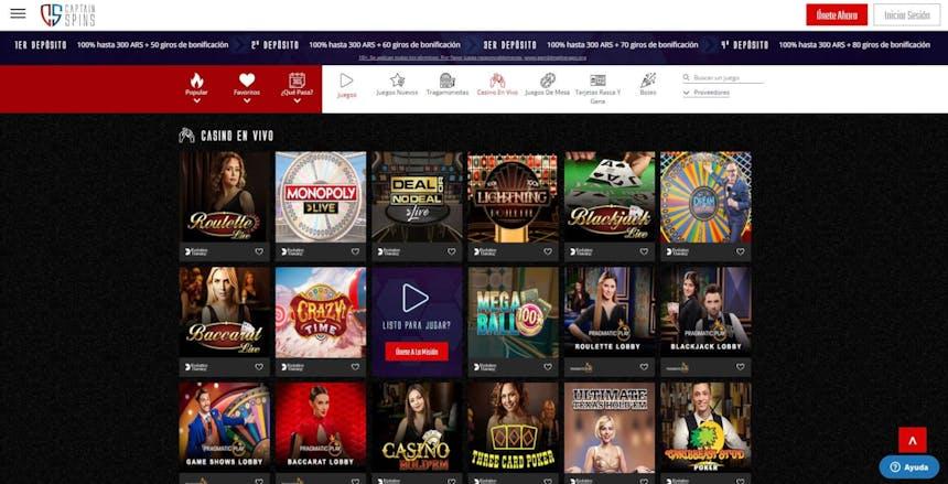 Disfruta del casino en vivo y juega a tu juego favorito en CaptainSpins