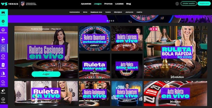 Disfruta del casino en vivo y juega a tu juego favorito en Versus