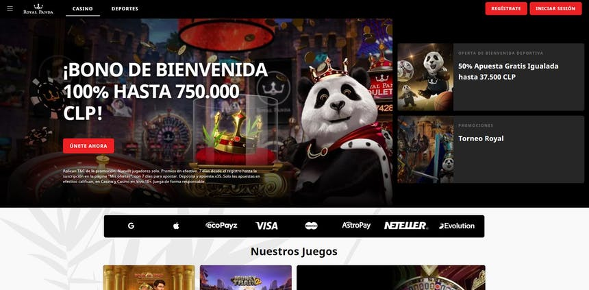 bono e promozione del Royal Panda Chile