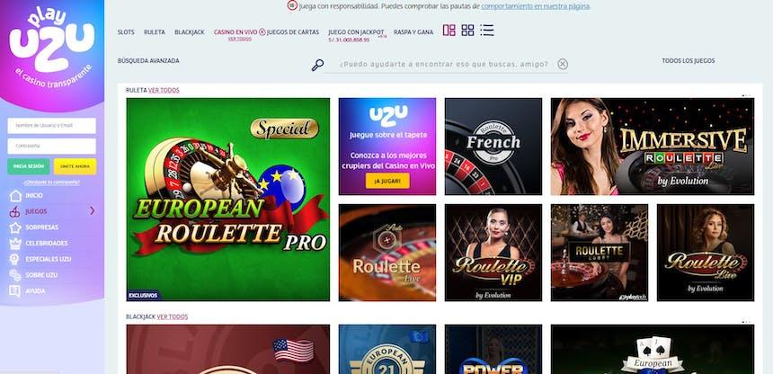 Disfruta del casino en vivo y juega a tu juego favorito en PlayUzu Perú